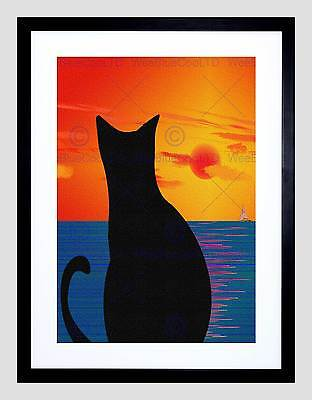 CAT LANDSCAPE ABSTRACT SILHOUETTE SUNSET SEA BOAT PRINT POSTER PICTURE BMP566A