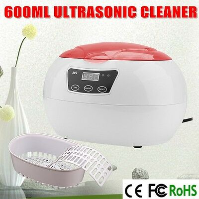 Multi Purpose Ultrasonic Sonic Wave Cleaner Jewellery Glasses Watch Home Red AU