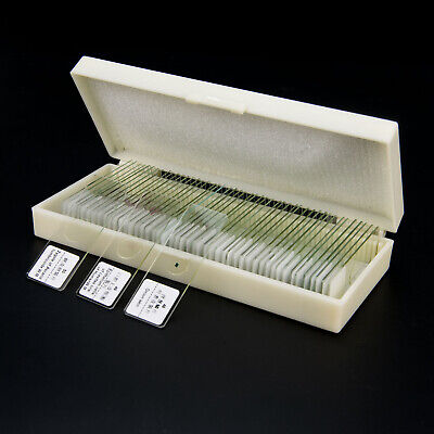 50PCS Professional Biological Microscope Glass Prepared Specimen Slides w/ Box