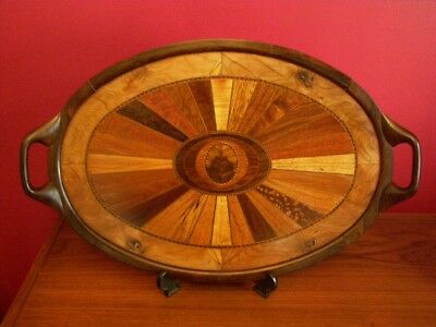 Antique Wood Marquetry Inlaid Oval Tea Tray with Carved Ebony Handles