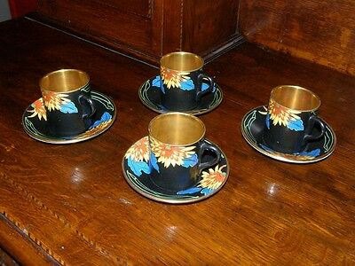 Vintage Art Deco Crown Ducal Set of 4 Demi-Tasse Cups and Saucers 1915-1929