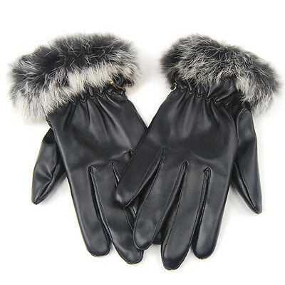 Ladies Quality Soft Black Leather Winter Driving Gloves Womens Warm SK
