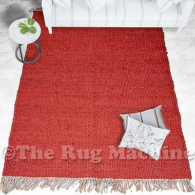 OXFORD RED NATURAL JUTE KNOTTED FLATWEAVE MODERN FLOOR RUG 150x220cm **NEW**