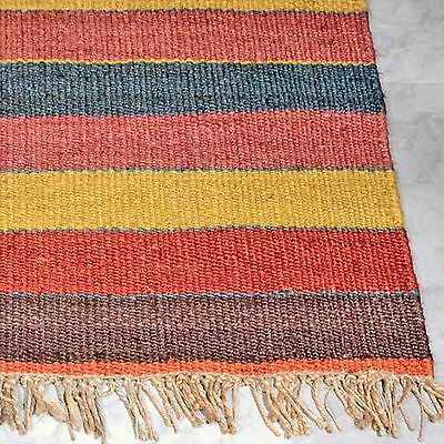OXFORD COLOURFUL NATURAL JUTE KNOTTED FLATWEAVE FLOOR RUG RUNNER 75x340cm **NEW*