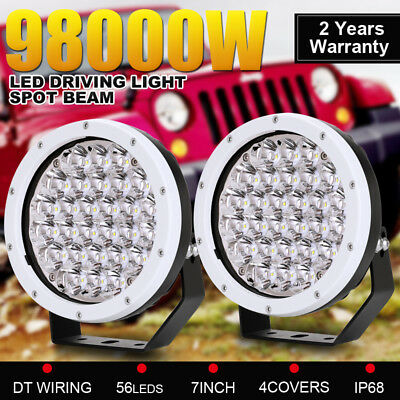 98000W Pair 7inch CREE Round LED Driving Lights Spotlights Offroad 4WD SUV Lamp