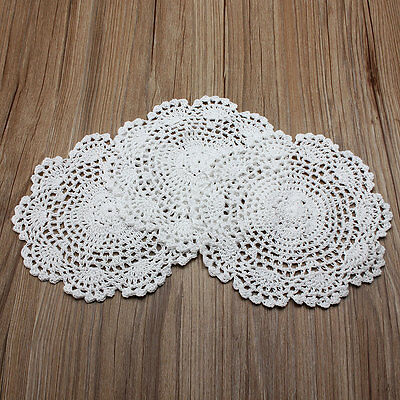 Set Of 3 White Hand Crochet Doilies Cotton Coasters Lot 8'' Round Applique