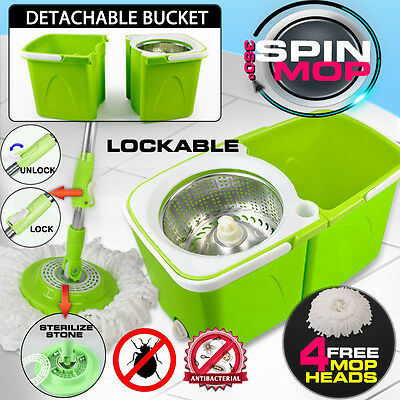 New Magic Split Bucket Mop 360 Spinning Stainless Steel Spin Bucket 2x Mop Heads