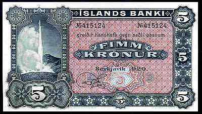 Iceland. 5 Kronur, 415124, 1920, remainder. Almost Uncirculated-Uncirculated