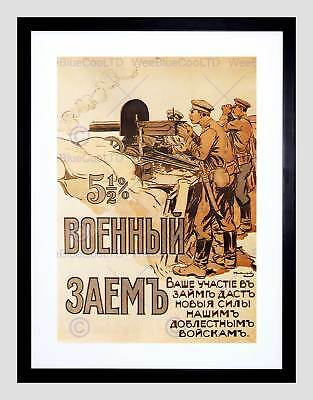 War Loan First World Russia Vintage Retro Advert Framed Art Print Mount B12X1923