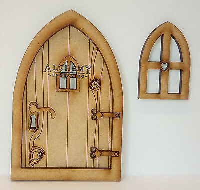 Country Cottage 3D Fairy Door Wooden Craft Kit with 2 Fairy Windows & Handle