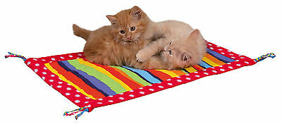 Multi Coloured Fleece Play Mat with Tassels & Rustling Foil for Cats & Kittens
