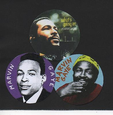 3 MARVIN GAYE BADGES. Tamla Motown, Soul, What's Going On.