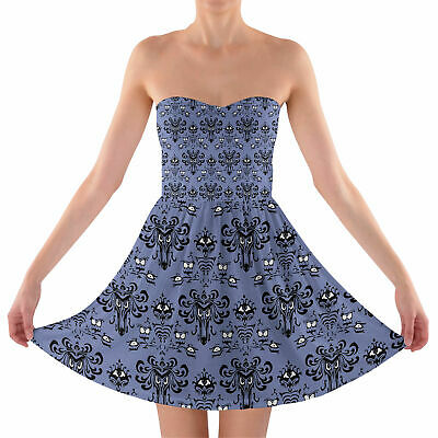 Haunted Mansion Wallpaper Sweetheart Strapless Skater Dress