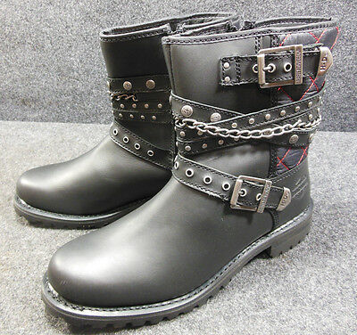 Harley Shay Ladies Studded Buckle Chain Zip Up Boots Shoes Size 10 D87043 #C176