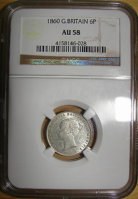 Great Britain - Queen Victoria Silver Sixpence 1860 Ngc Graded/slabbed Au58