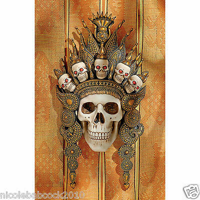 Balinese Hinduism deity of after life wearing tribal crown of death wall sculpt