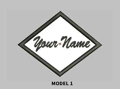 CUSTOM EMBROIDERED NAME PATCH DIAMOND SHAPE, Sew on patch Quality Badge