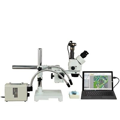 OMAX 2.1X-225X 5MP Digital Zoom Boom Stereo Microscope+30W LED Fiberoptic Light