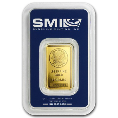 10 Gram Sunshine Mint .9999 Fine Gold Bar In Assay Mint Mark SI