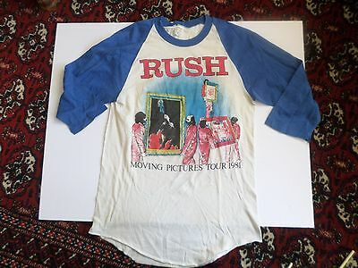 Vintage RUSH Moving Pictures Tour 1981 concert jersey Rock T-Shirt blue slvs M