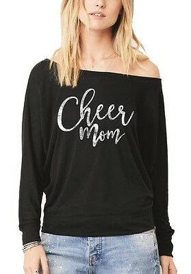 1b2fc59a Cheer Mom Off Shoulder Cheerleading Cheer Life Her Biggest Fan Long Sleeve  Tee