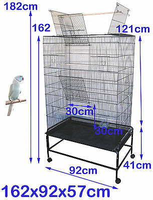 Large Stand-Alone Parrot Aviary Budgie Canary Bird Rat Cage on Wheels SUPREMO