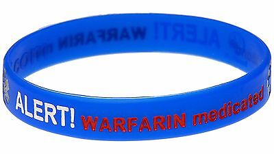 ツ Warfarin Medicated Blue Silicone Wristband Medical Alert Id Bracelet Mediband