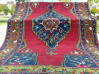 Authentic 4'10''x8'10'' 1900-1930s Antique Lambs Wool Pile Tribal Rug Turkey