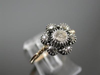 ANTIQUE GEORGIAN 15ct GOLD 80pt DIAMOND DAISY CLUSTER RING C.1760