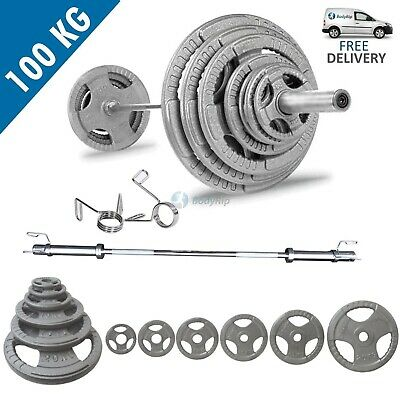 BodyRip Tri Grip Olympic Weight Set Of 100Kg Including 5Ft Barbell Weights