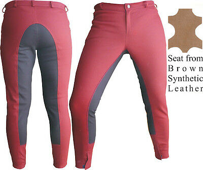 Bordeaux Synthetic Leather Dressage Horse Riding Pants Full Seat Breeches breech