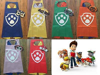 Kids Paw Patrol Satin Cape Felt Mask Costume Fancy Dress Up Imaginative Play Fun