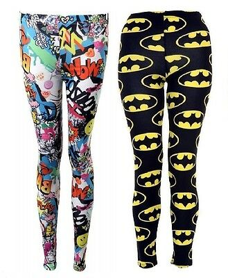 Ladies Girls Batman Logo Print Leggings Pants Women Black Full Length Trouser