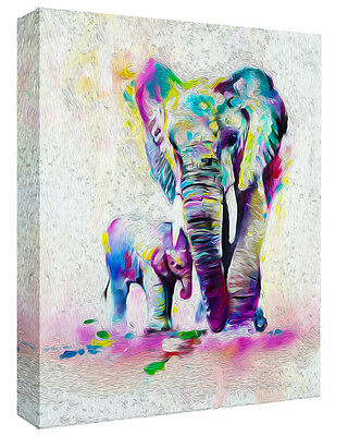 Stunning Abstract Elephant & Baby Canvas Wall Art Picture Print - A0, A1, A2