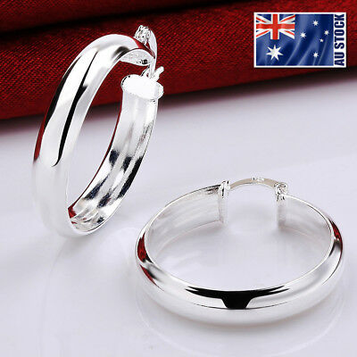 New 925 Sterling Silver Filled Women 34mm LARGE Round Hoop Earrings Stunning