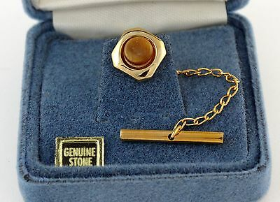 Vintage NOS Tie Tack Pin Gold Tone Square with Round Tiger's Eye Brown Stone
