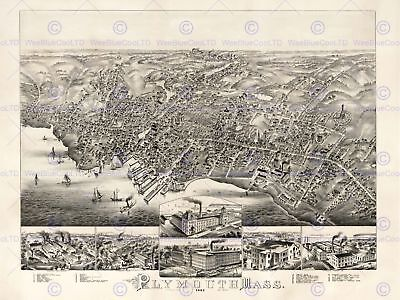 Map Plymouth Mass 1882 Vintage 12 X 16 Inch Art Print Poster Picture Hp2212
