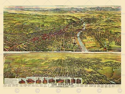 Map Los Angeles California 1894 12 X 16 Inch Art Print Poster Picture Hp2202