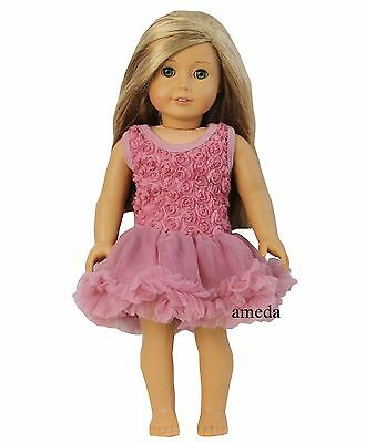 """18"""" American Girl Doll Romantic Dusty Pink Rosettes Party Dress Clothes"""