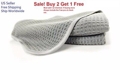 Gray Waffle Weave Thirsty Absorbing Microfiber Drying Towel Auto Home Kitchen