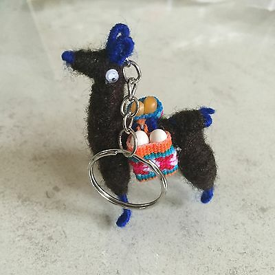 Llama Keychain Adorably Handcrafted from Peru with Saddle Pouches Alpaca - Black