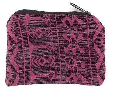 Magenta Geometric Coin Purse Bag Pouch Credit Card ID Holder Wallet 100% Cotton