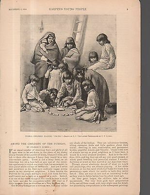 """1890 Harper's Young People cover - Pueblo Indian children playing """"pa-tol."""""""