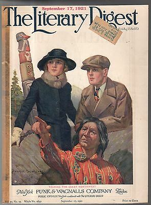 1921 Literary Digest Cover September 17- Touring the great northwest -Totem Pole
