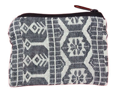 Black White Geometric Coin Purse Bag Pouch Credit Card ID Holder Wallet Cotton