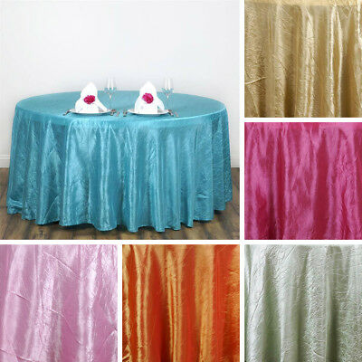 "30 pcs Wholesale 117"" ROUND Crinkled Taffeta TABLECLOTHS Wedding Party Supplies"