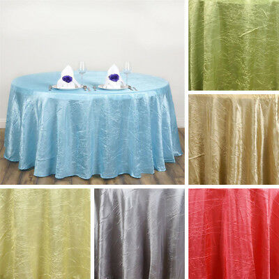 """20 pcs Wholesale 117"""" ROUND Crinkled Taffeta TABLECLOTHS Wedding Party Supplies"""