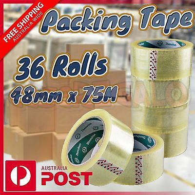 36 Roll Clear Packing Tape Sticky Packaging Seal Shipping Box Carton 48mm 75m