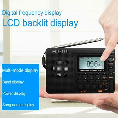 Portable FM/AM/SW Radio World Band Bass Stereo MP3 Player REC Recorder Function