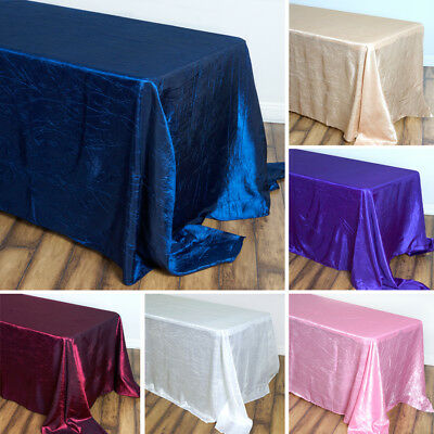 "20 pcs RECTANGLE TABLECLOTHS 90x156"" Crinkled Taffeta for Wedding Party Catering"